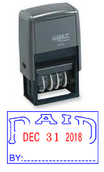 Classix #40322 Paid Self-Inking  Message Date Stamp (Plastic Frame)